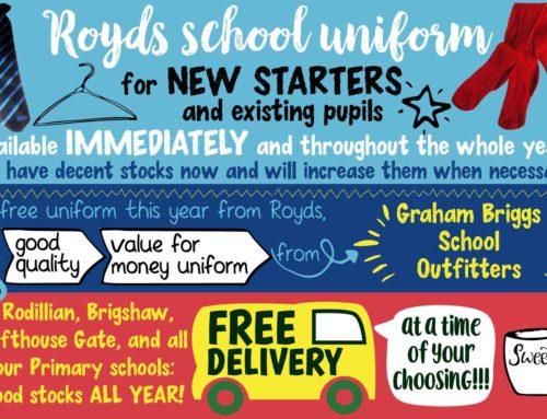 Royds School Uniform NEW STARTERS